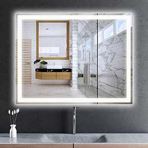 ROOMTEC LED Bathroom Mirror 36x28 inch,Smart Mirror Built in Anti-Fog Function and Dimmable,Waterproof,Vertical and Horizontal Wall Mounted