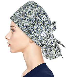 Fesciory Adjustable Working Caps with Button & Sweatband, Women Ponytail Pouch Hats, Long Hair (Blue Flower)