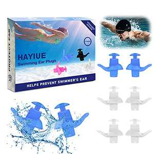 Swimming Ear Plugs, HaYiue 4 Pairs Swimmers Earplugs with Double Waterproof and Sound Hole Design Ear Plugs for Swimming Showering Bathing Surfing Snorkeling for Adult & Children