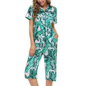 Lu's Chic Women's Notch Collar Pajama Set Pj Nightwear Botton Up Loungewear Sleepwear Satin Short Sleeve 2 Piece Button Down Pocket Matching Pjays Capri Lightweight Mid-Calf Green Large