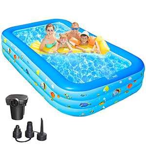 """Lucfuway Inflatable Swimming Pool, Kids Pool 120"""" X72"""" X20"""" Full-Sized Family Kiddie Blow up Pool, Garden, Backyard, Outdoor, Summer Water Party, Electric Pump Included"""