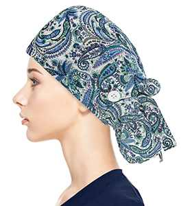 Adjustable Working Caps with Button & Sweatband, Women Ponytail Pouch Hats, Long Hair (Blue Leaf)