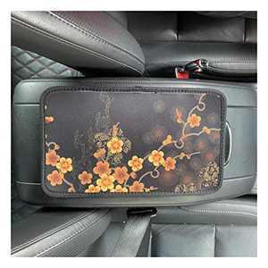 UZ Car Center Console Cover Neoprene Auto Armrest Console Cover Universal Fit (Golden Plum Blossoms)