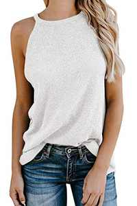 Sulozom Women Knit Tank Tops Sleeveless Halter Neck Cami Shirts CuteSummer Tshirt White XL