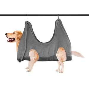 Homberry Dog Grooming Hammock Dog Grooming Harness for Nail Trimming, Restraint Soft Bag for Bathing Washing Grooming and Trimming Nails Grey(Updated Material)