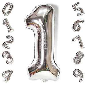 """40"""" Large Number Balloons,0 1 2 3 4 5 6 7 8 9 Helium Balloons Number, Giant Digital Number Age Balloons for Birthday Party Decoration (Silver 1)"""