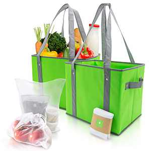 2 Pack Kitchen Reusable Grocery Bags with Bonus Pack of 9 Mesh Reusable Shopping Bags for Groceries with Drawstring - Sizes 34 x 26 x 28cm & 30 x 40cm