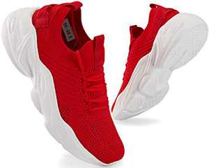 Mens Running Shoes Lightweight Casual Breathable Mesh Walking Shoes Non Slip Athletic Tennis Shoes Red