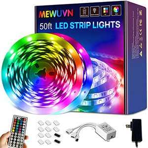 50ft Led Strip Lights ,Mewuvn 5050 RGB Color Changing Led Light Strips ,Led Lights for Bedroom , Living Room,Kitchen ,TV