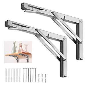 "Lhedon Folding Shelf Brackets 8"", Max Load: 88lb,2pcs Heavy Duty Stainless Steel Collapsible Shelf Bracket for Table Work Bench, Space Saving Wall Mounted DIY Bracket"
