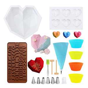 Chocolate Heart Molds, 11 PCS Silicone Molds for Baking, Chocolate Mold with Wooden Harmmers, Silicone Brush, Cake Decorator, Letter Mold, Heart Button Fondant Mold, Baking Cups for DIY Baking Tools