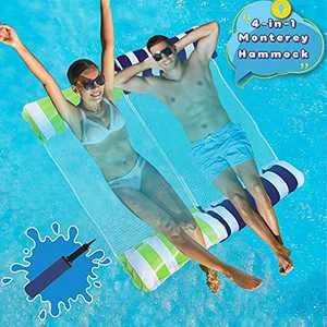 Swimming Pool Float Hammock, Water Hammock Portable Inflatable Pool Floats Multi-Purpose Pool Hammock (Saddle, Lounge Chair, Hammock, Drifter) Pool Chair for Kids Adults