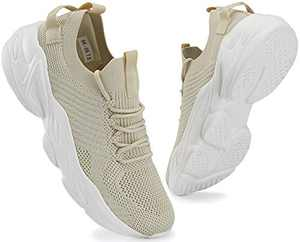 Mens Running Shoes Lightweight Casual Breathable Mesh Walking Shoes Non Slip Athletic Tennis Shoes Beige