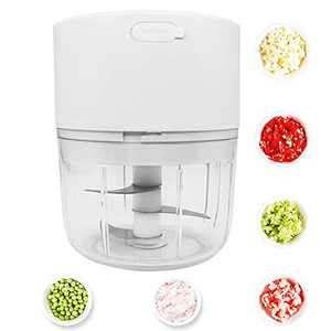 Electric Mini Garlic Chopper Mincer, Rilanmit Portable Rechargeable Food Processor with There Blades 250ML Waterproof Cordless Vegetable Chopper for Garlic Onions Vegetables Salad Pepper Meat, White