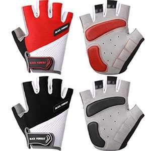 2 Pairs Cycling Gloves Bicycle Gloves Anti Slip Mountain Bike Gloves Half Finger Short Sports Gloves Shockproof Padded Biking Gloves for Sports Hiking Riding Women Men (L)