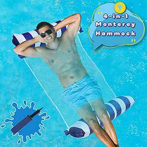 Swimming Pool Float Hammock, Water Hammock Portable Inflatable Pool Floats Multi-Purpose Pool Hammock (Saddle, Lounge Chair, Hammock, Drifter) Pool Chair with Air Pump for Kids Adults