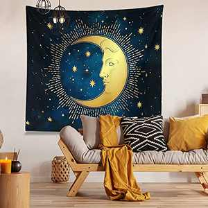 """Trippy Tapestry Moon, Moon Tapestry Wall Hanging, Hippie Sun Wall Tapestry for Bedroom, Kitchen, College Room Decoration, Premium Quality (H59.1"""" X W78.7"""", Moon)"""