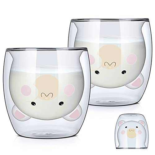 Sorlakar Cute Mugs Glass Double Wall Insulated Glass Coffee Cup, Tea Cup, Milk Cup, Espresso Cup,Best Gift for Women Cat Lover (2-Pack,9.5OZ)