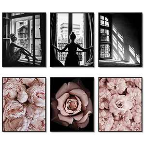 """Fashion Wall Art Prints Set of 6 Black and White Fashion Art Pink Roses Flower Wall Art Floral Trendy Posters Prints Canvas Art Pictures Bedroom Decor for Girls Room Decor (8""""x10"""" UNFRAMED)"""