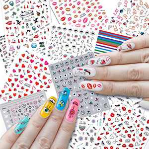 Preskboo 1000+ Mixed Nail Art Stickers 3D Self-Adhesive Dream Catcher Nail Stickers Evil Eye Heart Kiss Love Rainbow Decals for Women Girls Kids Manicure DIY or Nail Salon, 12 Sheets