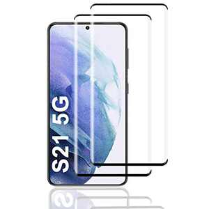 Galaxy S21 Screen Protector, HD Clear Tempered Glass, Ultrasonic Fingerprint Support, 3D Curved, Scratch Resistant, Bubble-Free for Galaxy S21 5G Glass Screen Protector