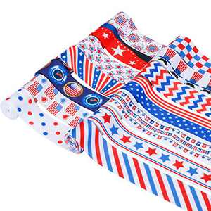 Konsait 14 Pieces American Flags Pattern Ribbon Set, Holiday Grosgrain Ribbons for Gift Package Wrapping, Independent Day Presidents Day Stars Stripes Ribbon for Hair Bow Wreath Craft Party Supplies