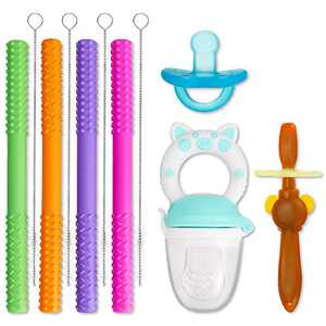 CAMTOA Hollow Teething Tubes, Soft Silicone Baby Soothing Teether Toy Chewy Tube Food Grade Safety Stick Teether Straws for Babies Boys & Girls with a Cleaning Brush (6.8inches,5 Color) (Green)
