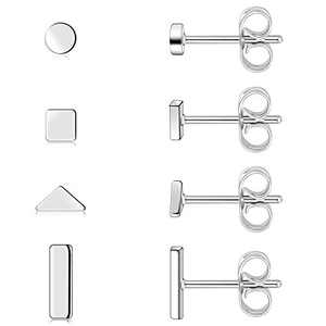 Pack of 4 Earrings Geometric Mini Stud 316L Surgical Stainless Steel Cute Square Round Cartilage Piercing Hypoallergenic Nickel Free