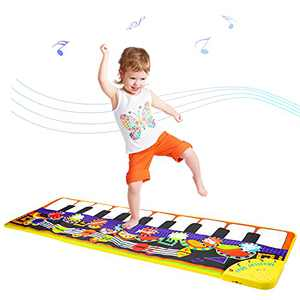 """MILYFER Piano Mat for Kids and Toddlers, 43.5"""" X14.5"""" Musical Mat with 8 Musical Instruments Sounds, Keyboard Music Mat with Play Record Playback Demo Modes, Touch Play Dancing Mat for Boys Girls"""