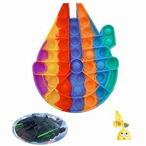 Colorful Star War Spacecraft Push Popping Bubble Sensory Fidget Toy, Stress Reliever Squeeze Toy (Rainbow)