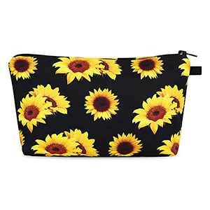 Small Makeup Bags for Women, Waterproof Cosmetic Bag with Zipper Makeup Bag Travel Toiletry Bag Accessories Organizer Gifts for Women Teen Girls (Sunflower)