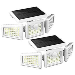 Otdair Solar Security Lights, 3 Head Motion Sensor Lights Adjustable 118LED Flood Lights Outdoor Spotlights 360° Rotatable IP65 Waterproof for Porch Garden Patio Yard Garage Pathway