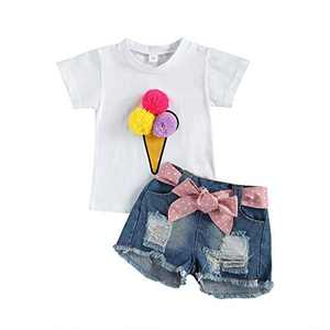 Toddler Baby Girls Clothes Short Sleeve Pompom Tops+Ripped Jeans Denim Shorts Set (Blue White, 1-2 Years)