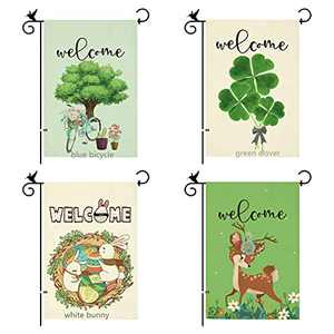 DOMIGLOW Welcome Spring Summer Garden Flag - 1Pcs Farmhouse Bunny Yard Flags Vertical Double Sided Burlap Easter Banner Best For Holiday Birthday Party Patio Decor ( Bunny )