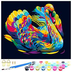 FOSUBOO Paint by Numbers Kits for Adults , DIY Paint by Numbers Custom Oil Painting for Beginner,Crafts Paint Arts for 14+ Year Old Drawing Beginner, Colorful Swan 18.5 x 22.5 inch