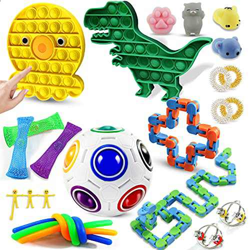 WTOR Fidget Packs Sensory Toys Set Push Bubble Stress Relief Toys Anti-Anxiety Tools Stocking Stuffers for Kids Adults with Dinosaurs Bubble, Click Snake, Rainbow Ball, Sensory Rings & More