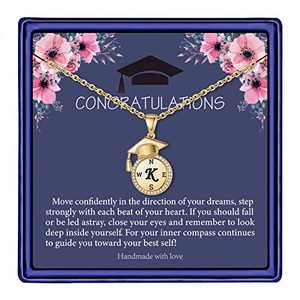 Graduation Gifts for Her 2021, Seniors Class of 2021 High School College Graduation Gifts for Daughter, Gold Tiny Inspirational Letter K Initial Compass Graduation Necklaces for Women Girls Jewelry