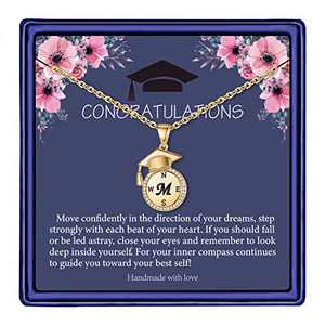 Graduation Gifts for Her 2021, Compass Necklace for Women Girls, 14k Gold Plated Dainty Meaningful High School M Letter Graduation Necklaces for Best Friend Class of 2021 Graduation Gifts Jewelry