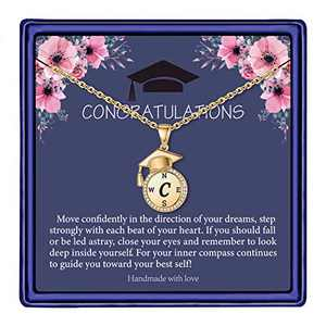 Graduation Gifts for Her, Compass Necklace for Women Girls, Gold Cute Encouraging Meaningful High School C Initial Graduation Necklaces for Best Friend Seniors Class of 2021 Graduation Gifts Jewelry