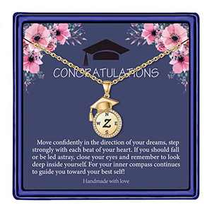 Graduation Gifts for Her 2021, Seniors Class of 2021 High School College Graduation Gifts for Daughter, Gold Tiny Inspirational Letter Z Initial Compass Graduation Necklaces for Women Girls Jewelry