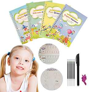 4pcs Magic Practice Copybook for Kids,Reusable English Calligraphy Tracing Book for Handwriting Letter Writing Book for Kindergarten Set (Alphabet Book with Pen)