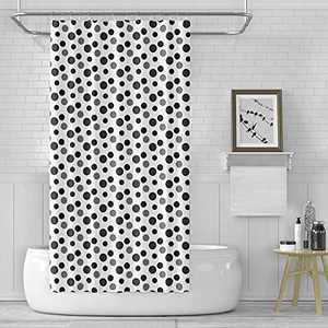 Pin Points Polka Dot Shower Curtain Set with 12 Hooks , Black & White Minimalist Printed Reinforced Buttonholes, for Bathroom Showers, Stalls, and Bathtubs, Machine Washable