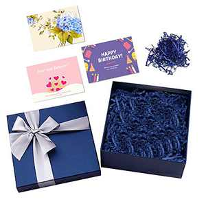 CINBOS Luxury Blue Gift Box With Lid And Ribbon for Weddings Birthday Bridesmaid Proposal