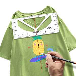 Tshirt Ruler Guide-Upgraded V-Neck/Round Collar Tshirt Alignment Tool for Vinyl- Tshirt Rulers to Center Designs Tools- Making Your Own Designs for Adult Youth Toddler Infant (4 Pack) (White-1)