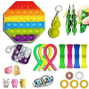 JANESVISSY 23 Pcs Fidget Packs,Relieves Stress Relief Fidget Toys Set for Adults and Kids,with Push pop Bubble Toy and Simple Dimple,for Birthday Party, Classroom Rewards Prizes