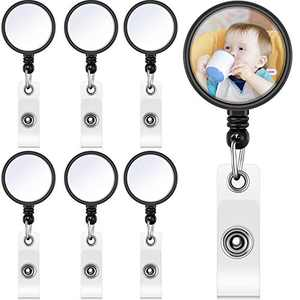 Nezyo Sublimation Retractable Badge Holder Custom Photo Badge Reel Blank Badge Alligator Clip for Name Card Supplies (6)