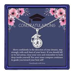 Graduation Gifts for Her 2021, Seniors Class of 2021 High School College Graduation Gifts for Daughter Best Friend, Silver Inspirational A Initial Compass Graduation Necklaces for Women Girls Jewelry