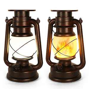 Led Vintage Solar Lantern, Realistic Flicker Flame Outdoor Hanging Lantern Solar Powered Camping Night Lights Landscape Decorative for Garden Patio Deck Yard Path 2 Pack, Copper