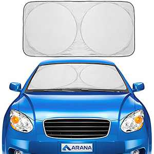 """Car Windshield Sun Shade Foldable Retractable Sun Shield Front Window Sunshades Blocks 99% UV Rays Sun Heat, Standard Size 64""""×32"""""""