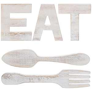 LOSOUR Farmhouse Kitchen Wall Decor, Farmhouse Decor EAT Sign + Fork and Spoon, Wooden Letters for Rustic Wall Decor (EAT Sign + Fork and Spoon)